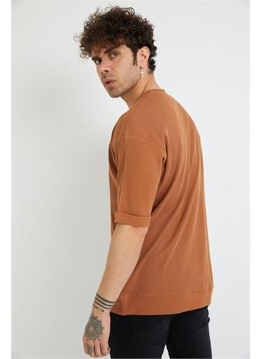 XHAN Hardal Petek Örgü Waffle Kumaş Oversize T-Shirt 1Yxe1-44876-37 Bej